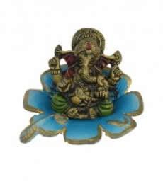 Metal Ganesha Statue on Sky Blue Leaf   Craft by artist E Craft   Metal