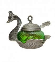 E Craft | Green Crystal Mouth Freshner Container Craft Craft by artist E Craft | Indian Handicraft | ArtZolo.com