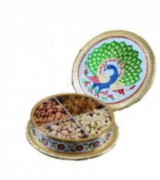 E Craft | Meenakari Peacock Dry Fruit Container Craft Craft by artist E Craft | Indian Handicraft | ArtZolo.com
