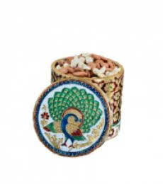 Meenakari Peacock Dry Fruit Box | Craft by artist E Craft | Metal