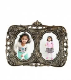 White Metal Round Photo Frame for 2 | Craft by artist E Craft | Metal