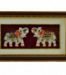 E Craft | Set Of 2 Marble Elephant Wall Hanging Craft Craft by artist E Craft | Indian Handicraft | ArtZolo.com