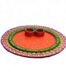 E Craft | Papier Mache Pink and Orange Pooja Thali Craft Craft by artist E Craft | Indian Handicraft | ArtZolo.com