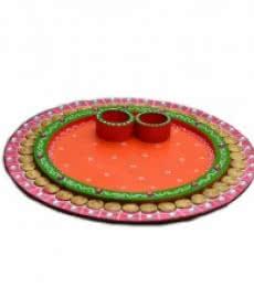 Papier-Mache Pink and Orange Pooja Thali | Craft by artist E Craft | Paper
