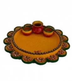 Papier-Mache Yellow Pooja Thali | Craft by artist E Craft | Paper