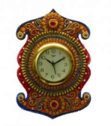 E Craft | Kundan Studded Wall Clock Craft Craft by artist E Craft | Indian Handicraft | ArtZolo.com