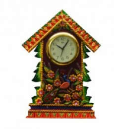 E Craft | Wall Clock Floral Hut Design Craft Craft by artist E Craft | Indian Handicraft | ArtZolo.com