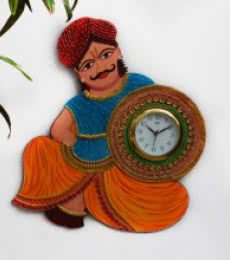 E Craft | Rajasthani Turban Man Wall Clock Craft Craft by artist E Craft | Indian Handicraft | ArtZolo.com