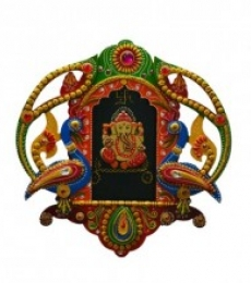 E Craft | Ganesha with Peocock Wall Hanging Craft Craft by artist E Craft | Indian Handicraft | ArtZolo.com
