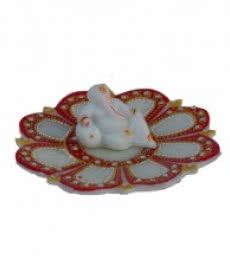 E Craft | Ganesha resting on Marble Lotus Plate Craft Craft by artist E Craft | Indian Handicraft | ArtZolo.com