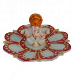 Ganesha sitting on Marble Lotus Plate | Craft by artist E Craft | Marble