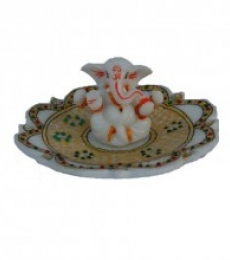 Ganesha on Marble Stone Studded Plate | Craft by artist E Craft | Marble