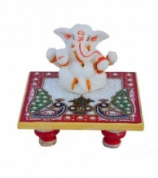 E Craft | Chaturbhuj Lord Ganesha on Marble Chowki Craft Craft by artist E Craft | Indian Handicraft | ArtZolo.com
