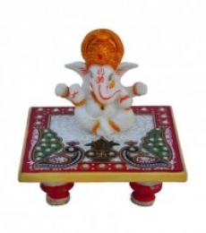 Ganesha with Crown on Marble Chowki | Craft by artist E Craft | Marble