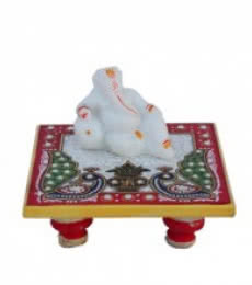 Ganesha resting on Marble Chowki | Craft by artist E Craft | Marble