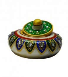 E Craft | Marble Green Sindoor Holder Craft Craft by artist E Craft | Indian Handicraft | ArtZolo.com