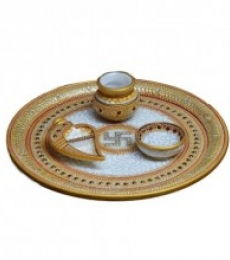 Golden Marble Pooja Thali with Swastik | Craft by artist E Craft | Marble