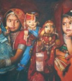 Toys Oil Art Painting title 'Cherubs Of Rajasthan' by artist Jinal Gada Gala