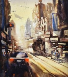 Cityscape Watercolor Art Painting title 'Freedom Of Kolkata II' by artist Ananta Mandal