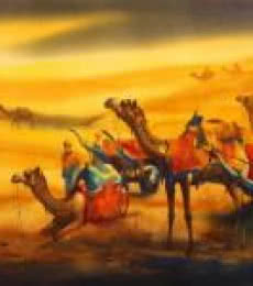 Landscape Watercolor Art Painting title 'Golden Desert III' by artist Ananta Mandal