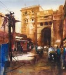 Cityscape Watercolor Art Painting title Inside The Sonar Kella by artist Ananta Mandal