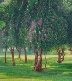 Landscape Oil Art Painting title 'Blooming Beauty' by artist Gopal Nandurkar