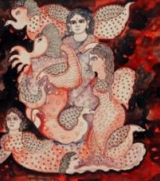 Figurative Watercolor Art Painting title Lalima by artist Jayasri Burman