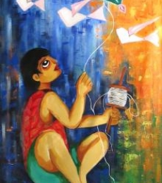 Figurative Acrylic Art Painting title Innocence by artist Sharmi Dey