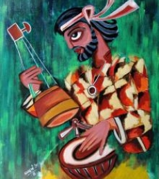 Figurative Acrylic Art Painting title Fakir by artist Sharmi Dey