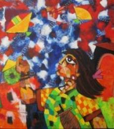 Figurative Acrylic Art Painting title Kites by artist Sharmi Dey
