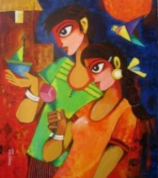 Figurative Acrylic Art Painting title 'GIFT OF LOVE' by artist Sharmi Dey