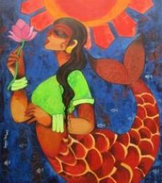 Ocean Girl | Painting by artist Sharmi Dey | acrylic | Canvas