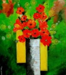 Sharmi Dey Paintings | Acrylic Painting - Blossom 2 by artist Sharmi Dey | ArtZolo.com