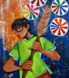 Happiness Seller | Painting by artist Sharmi Dey | acrylic | Canvas