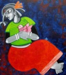 Sharmi Dey | Acrylic Painting title Daughter and her Dreams on Canvas | Artist Sharmi Dey Gallery | ArtZolo.com