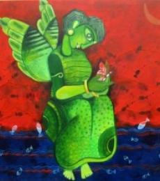 Figurative Mixed-media Art Painting title Butterfly girl by artist Sharmi Dey
