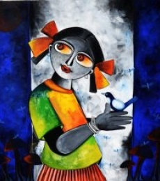 Chirping thoughts | Painting by artist Sharmi Dey | acrylic | Canvas