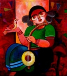 Figurative Acrylic Art Painting title 'Celebration' by artist Sharmi Dey