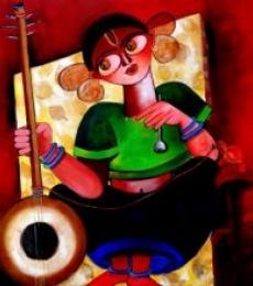 Figurative Acrylic Art Painting title 'Baishnabi' by artist Sharmi Dey