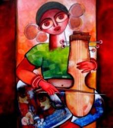 Figurative Acrylic Art Painting title 'Manganiar' by artist Sharmi Dey