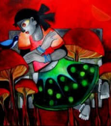 Fantasy Acrylic Art Painting title 'Wonderland' by artist Sharmi Dey
