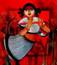 Sharmi Dey Paintings | Acrylic Painting - BRINDA by artist Sharmi Dey | ArtZolo.com