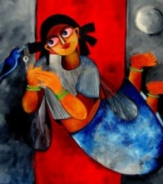 Figurative Acrylic Art Painting title 'Key to happiness' by artist Sharmi Dey
