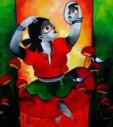 Figurative Acrylic Art Painting title 'POISED' by artist Sharmi Dey