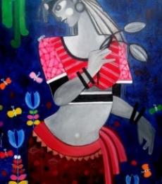 Figurative Acrylic Art Painting title 'NATURE UNTOLD' by artist Sharmi Dey