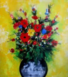 Abstract Acrylic Art Painting title 'Flower Vase' by artist Sharmi Dey