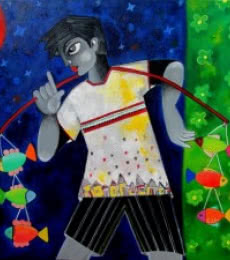 Sharmi Dey | Acrylic Painting title Winnie the fisher boy on Canvas | Artist Sharmi Dey Gallery | ArtZolo.com