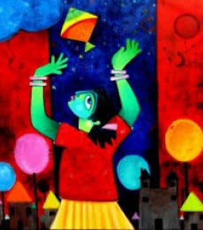 Figurative Acrylic Art Painting title 'Udaan' by artist Sharmi Dey