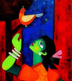 Sharmi Dey | Acrylic Painting title Nightangel on Canvas | Artist Sharmi Dey Gallery | ArtZolo.com