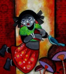 Sharmi Dey | Acrylic Painting title Barnakumari on Canvas | Artist Sharmi Dey Gallery | ArtZolo.com